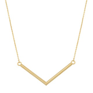Fremada 14k Yellow Gold Diamond-cut Chevron Necklace (18 inches)