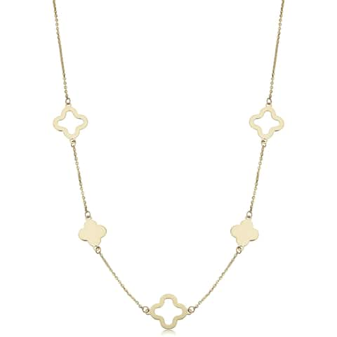 14k Yellow Gold Alternate Cut-out and Block Flower Station Necklace (18 inches)