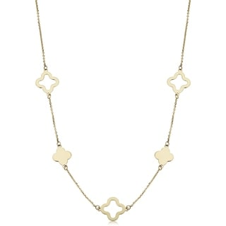 Fremada 14k Yellow Gold Alternate Cut-out and Block Flower Station Necklace (18 inches)