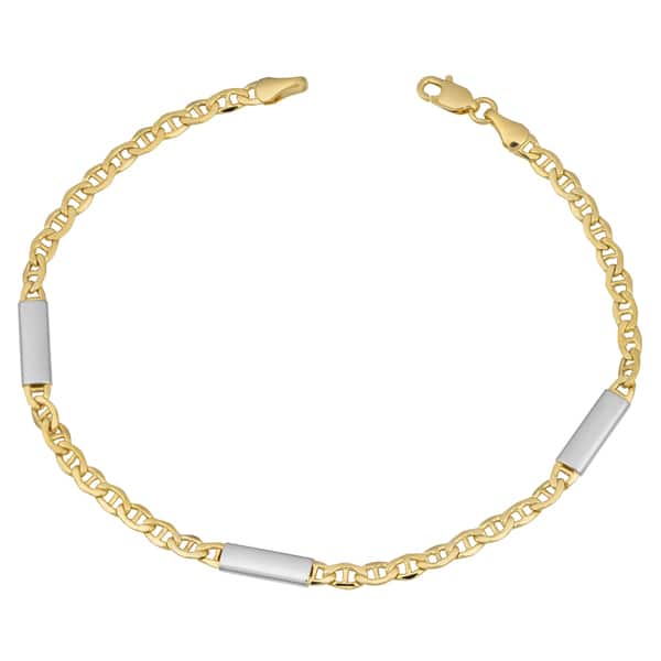 Beautiful 14 Karat Two-tone White and Yellow Gold Round /& Oval Link 7.5 Inch Bracelet