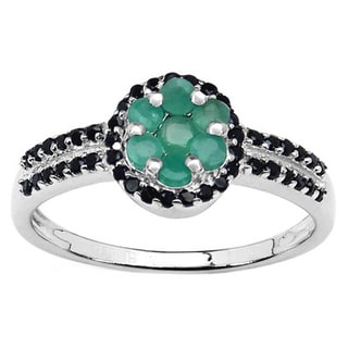 Malaika Sterling Silver 3/4ct Emerald and Black Spinel Cluster Ring