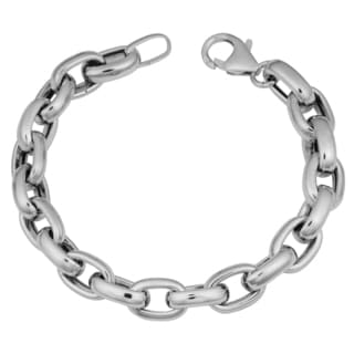 Argento Italia Rhodium Plated Sterling Silver Oval Link Bracelet (7.75 inches)