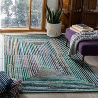 Safavieh Handmade Nantucket Teal Cotton Rug - 6' x 9'