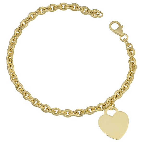 Fremada 14k Yellow Gold Heart Charm on Rolo Link Bracelet (7.25 inches). Opens flyout.