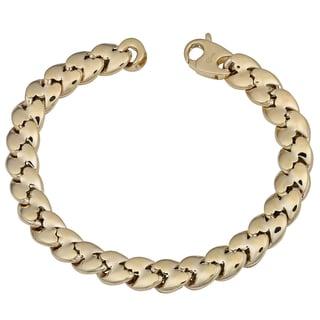 Fremada 14k Yellow Gold Fancy Puffed Link Bracelet (7.5 inches)