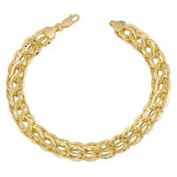Fremada 14k Yellow Gold Stylish Diamond-cut Link Bracelet (7.5 inches)