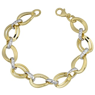 Fremada 14k Two Tone Gold Fancy Ovals Link Bracelet 7 75 Inches