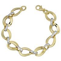 Fremada 14k Two-tone Gold Fancy Ovals Link Bracelet (7.75 inches)