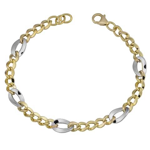 Fremada 14k Two-tone Gold Fancy Figaro Bracelet