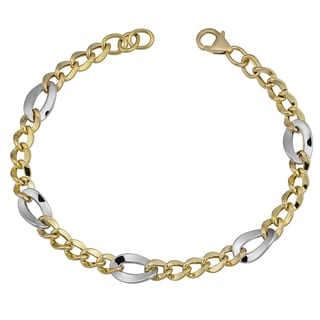 Fremada 14k Two-tone Gold Fancy Figaro Bracelet