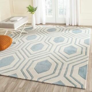 Safavieh Handmade Chatham Blue/ Ivory Wool Rug (6' x 9')