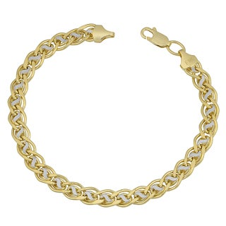 Fremada 14k Two-tone Gold Fancy Link Bracelet (7.5 inches)