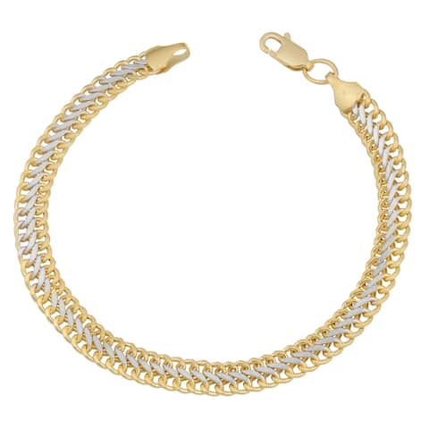Fremada 14k Two-tone Gold High Polish Saduza Bracelet (7.5 inches)