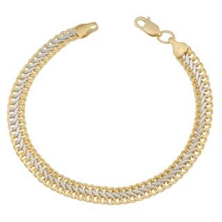 Fremada 14k Two-tone Gold High Polish Saduza Bracelet (7.5 inches)