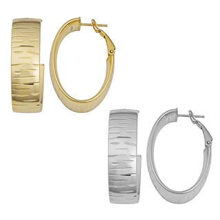 Argento Italia Sterling Silver Textured Oval Hoop Omega Clasp Earrings (Silvertone or Goldtone)