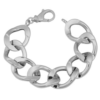 Argento Italia Rhodium Plated Sterling Silver Bold Link Bracelet (7.75 inches)