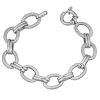 Argento Italia Rhodium Plated Sterling Silver Alternate Textured and High Polish Link Bracelet (7.5 inches)
