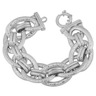 Argento Italia Rhodium Plated Sterling Silver Bold Hammered Link Bracelet (7.75 inches)