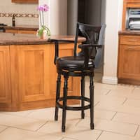 Eclipse 31-inch Black Bonded Leather Armed Swivel Barstool by Christopher Knight Home