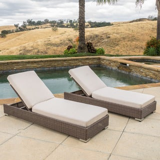 Barcelona Outdoor Wicker Chaise Lounge with Sunbrella Cushions (Set of 2) by Christopher Knight Home