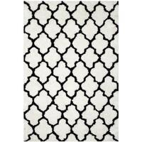 Safavieh Handmade Barcelona Shag White/ Black Trellis Polyester Rug - 6' x 9'