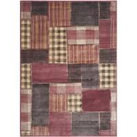"Safavieh Vintage Red/ Multi Patchwork Silky Viscose Rug - 4' x 5'7"""