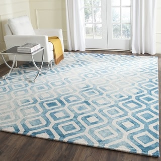 Safavieh Handmade Dip Dye Watercolor Vintage Ivory/ Blue Wool Rug (7' Square)