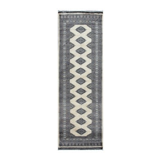 Herat Oriental Pakistani Hand-knotted Bokhara Ivory/ Black Wool Rug (2'7 x 8')