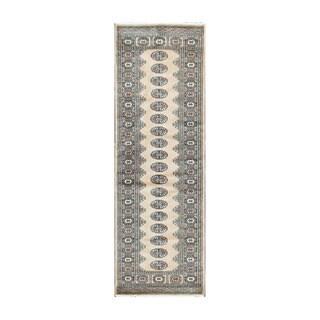 Herat Oriental Pakistani Hand-knotted Bokhara Beige/ Black Wool Rug (2'7 x 7'10)