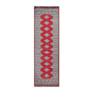 Herat Oriental Pakistani Hand-knotted Bokhara Red/ Gray Wool Rug (2'6 x 7'11)