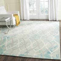 Safavieh Handmade Dip Dye Watercolor Vintage Green/ Ivory Grey Wool Rug - 7' Square