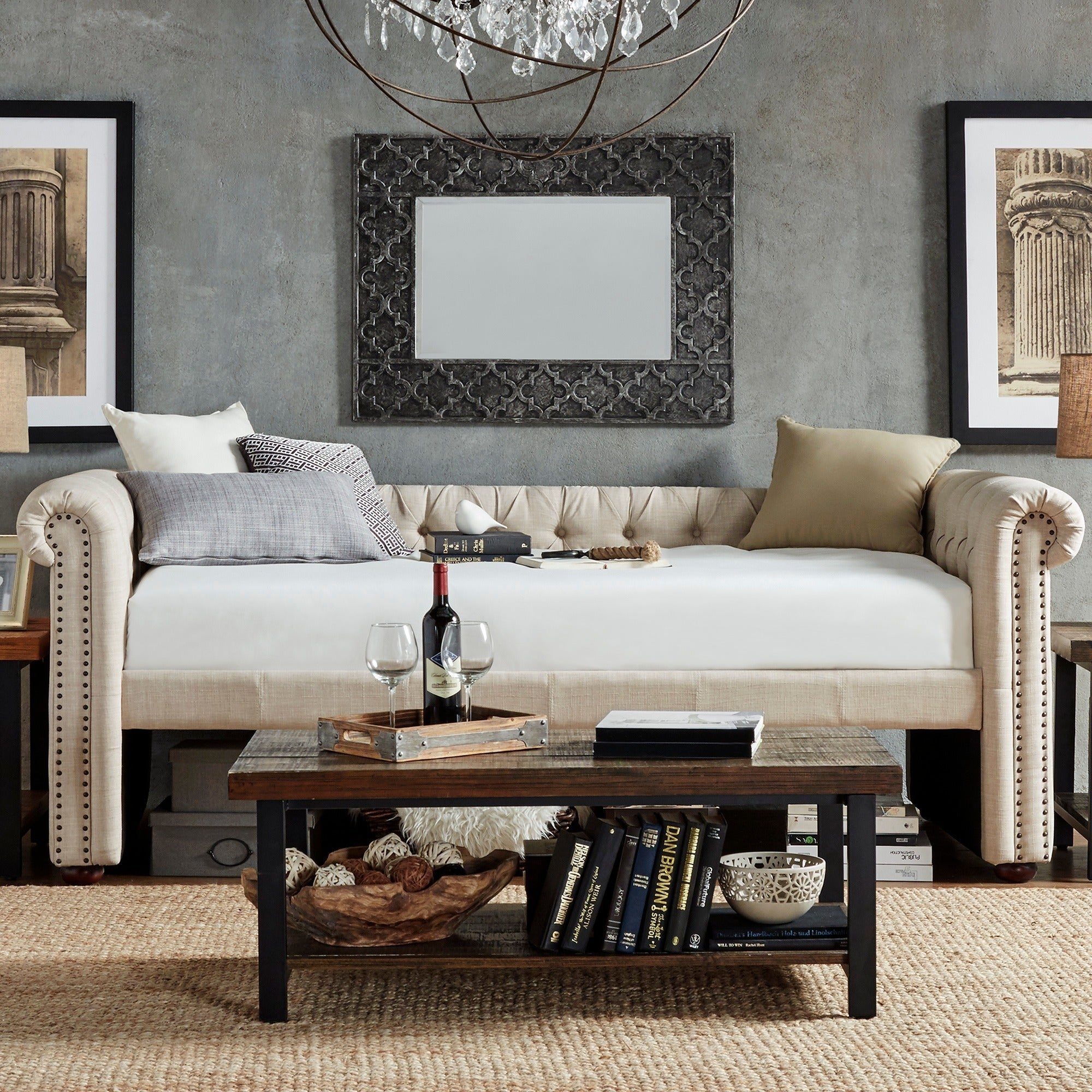 Knightsbridge Tufted Scroll Arm Chesterfield Daybed and T...