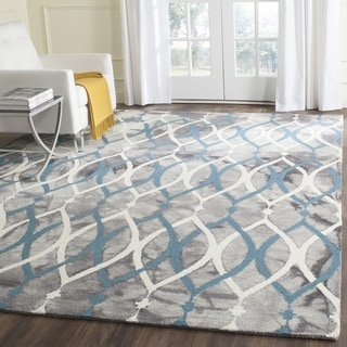 Safavieh Handmade Dip Dye Watercolor Vintage Grey/ Ivory Blue Wool Rug (7' Square)