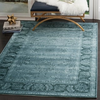 Safavieh Vintage Oriental Light Blue/ Dark Blue Distressed Silky Viscose Rug (5'1 x 7'6)