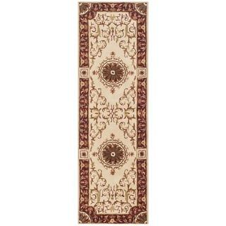Safavieh Handmade Empire Dani Traditional Oriental Wool Rug (26 x 10 Runner - Ivory/Red)