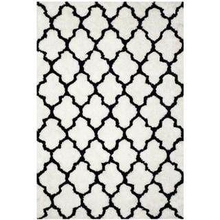 Safavieh Hand-Tufted Barcelona Shag Ivory/ Black Polyester Rug (9' x 12')
