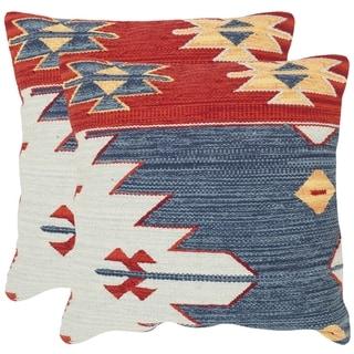 Safavieh Pueblo Blue Throw Pillows (20-inches x 20-inches) (Set of 2)