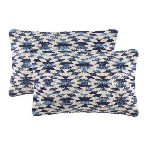 Safavieh Southwestern Diamond Blue Throw Pillows (12-inches x 20-inches) (Set of 2)