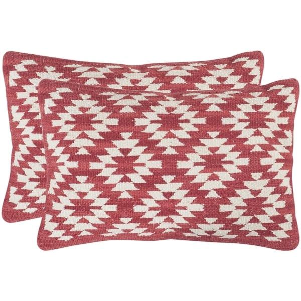 Safavieh Southwestern Diamond Red Throw Pillows (12-inches x 20-inches)  (Set of 2)