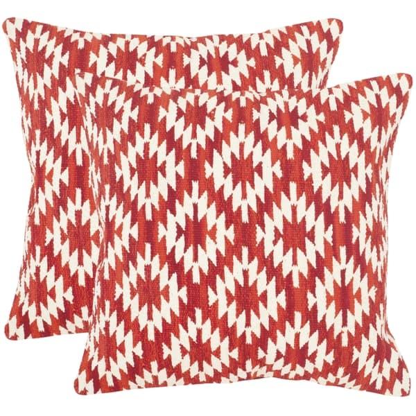 Safavieh Southwestern Diamond Red Throw Pillows (20-inches x 20-inches)  (Set of 2)