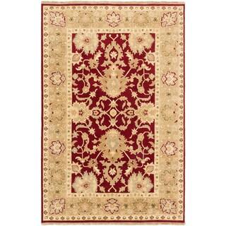 Ecarpetgallery Finest Ushak Khaki Red Wool Open Field Rug (6' x 9')