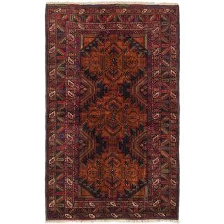 Ecarpetgallery Finest Rizbaft Black Dark Orange Wool Geometric Rug (4'2 x 6'10)