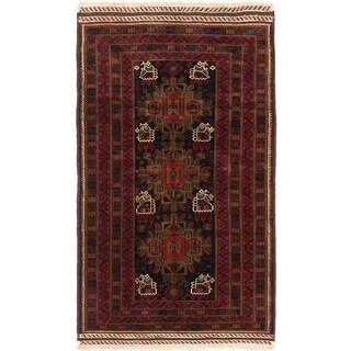 Ecarpetgallery Finest Rizbaft Black Red Wool Geometric Rug (4' x 6'9)