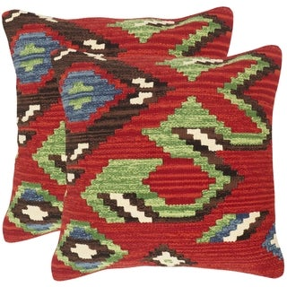Safavieh Canyon Red Throw Pillows (20-inches x 20-inches) (Set of 2)