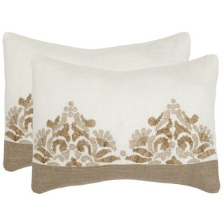 Safavieh Marseille Linen Cream Throw Pillows (12-inches x 20-inches) (Set of 2)