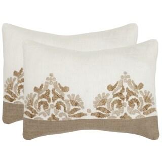 Safavieh Marseille Linen Cream Throw Pillows (12-inches x 20-inches) (Set of 2)