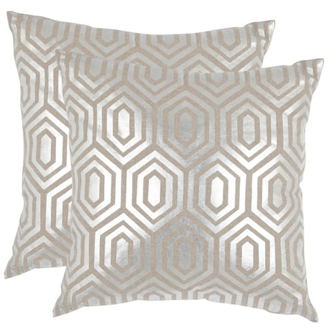 Safavieh Harper Pillow Silver Throw Pillows (18-inches x 18-inches) (Set of 2)