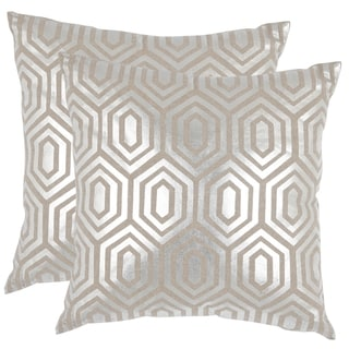 Safavieh Harper Pillow Silver Throw Pillows (22-inches x 22-inches) (Set of 2)