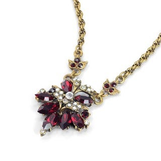 Sweet Romance Vintage Pearls and Garnet Crystal Pendant Necklace