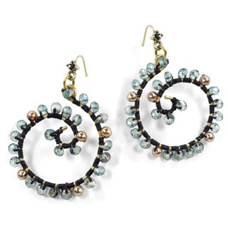 Sweet Romance Beaded Hoop Spiral Beach Earrings